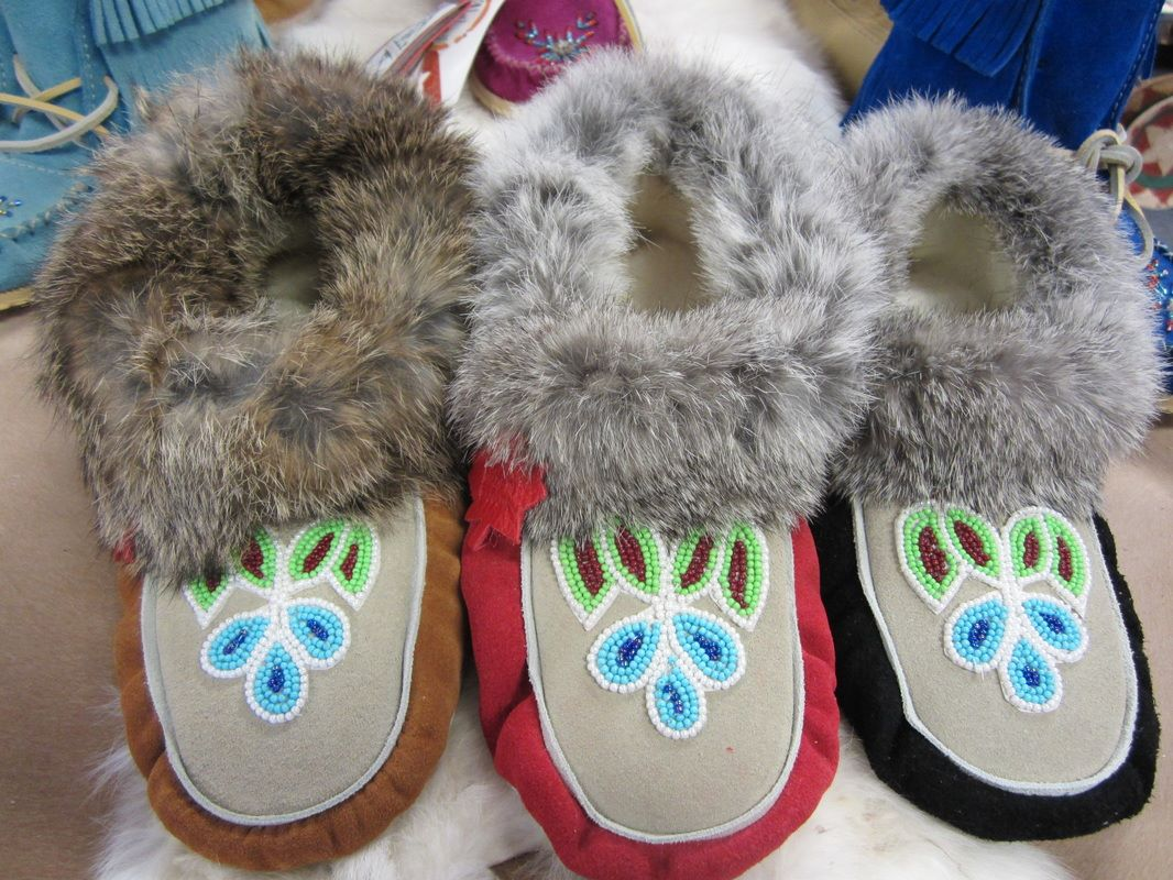 fd4c8097281 Soft Rabbit Fur Trim on Suede Moccasin Slippers with Traditional Huron  Beadwork.